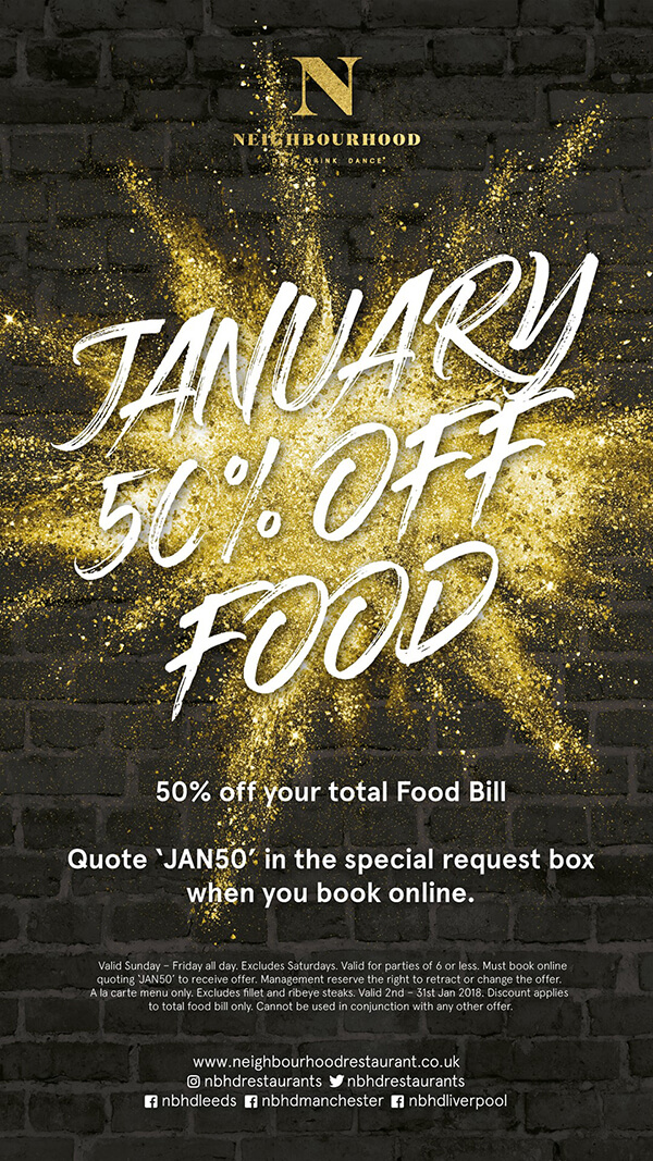 January 50% off your total food bill